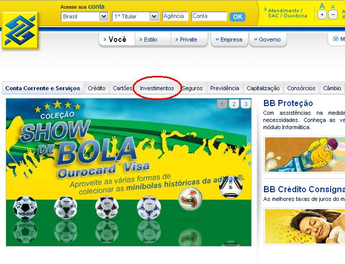 Website do Banco do Brasil