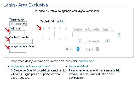 Login no Website do Banco do Brasil